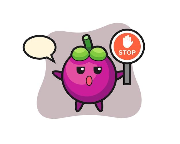 Ilustração do personagem mangostão segurando uma placa de pare, design de estilo fofo para camiseta, adesivo, elemento de logotipo