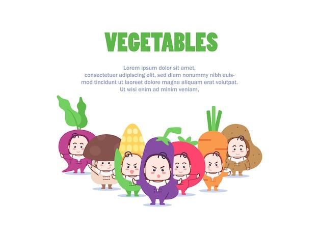 Ilustração do personagem mascote de vegetais