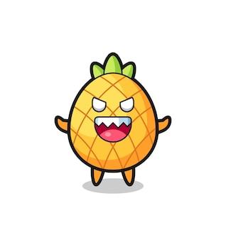 Ilustração do personagem mascote do abacaxi malvado, design de estilo fofo para camiseta, adesivo, elemento de logotipo