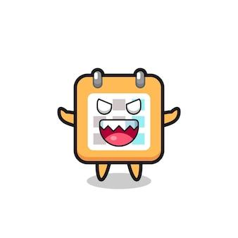 Ilustração do personagem mascote do calendário malvado, design de estilo fofo para camiseta, adesivo, elemento de logotipo