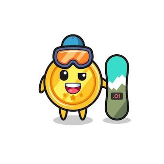 Ilustração do personagem medalha com estilo de snowboard, design de estilo fofo para camiseta, adesivo, elemento de logotipo
