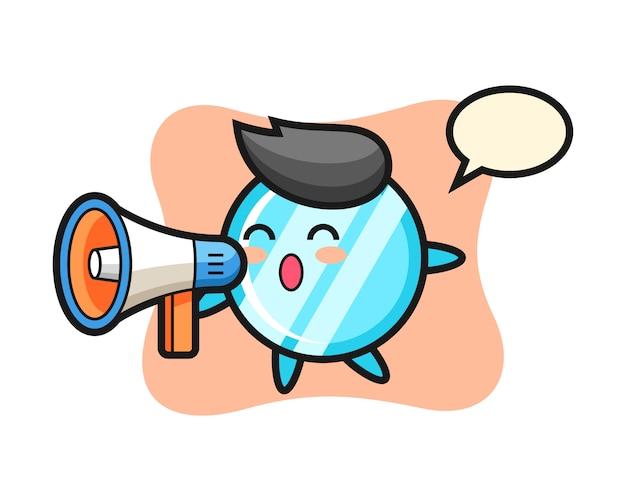 Ilustração do personagem no espelho segurando um megafone