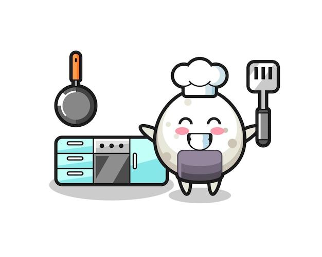 Ilustração do personagem onigiri enquanto o chef está cozinhando, design de estilo fofo para camiseta, adesivo, elemento de logotipo