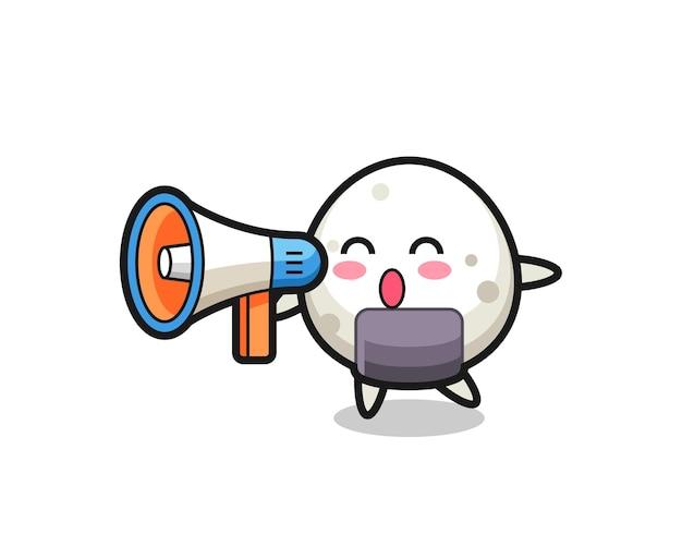 Ilustração do personagem onigiri segurando um megafone, design de estilo fofo para camiseta, adesivo, elemento de logotipo