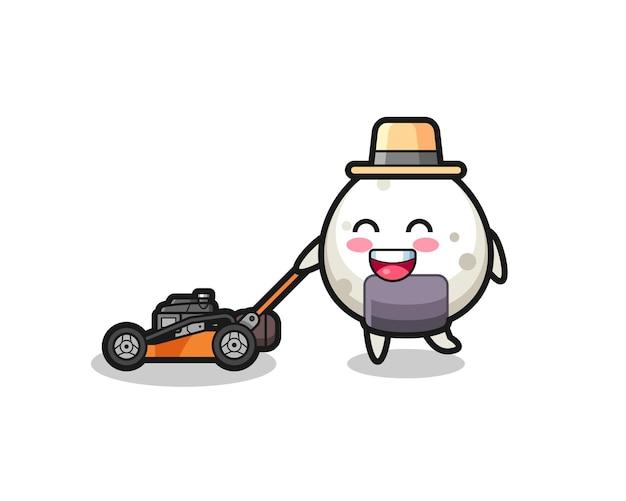 Ilustração do personagem onigiri usando cortador de grama, design de estilo fofo para camiseta, adesivo, elemento de logotipo