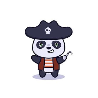 Ilustração do personagem pirata panda fofo