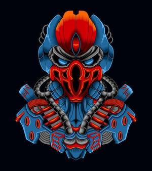 Ilustração do personagem robô ciborgue com caveira de ferro