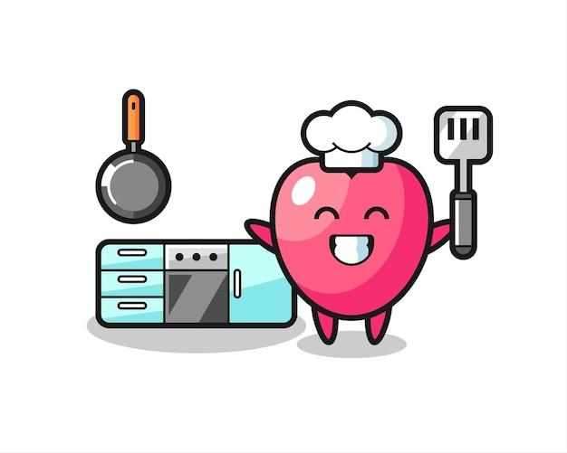 Ilustração do personagem símbolo do coração enquanto o chef está cozinhando, design de estilo fofo para camiseta, adesivo, elemento de logotipo