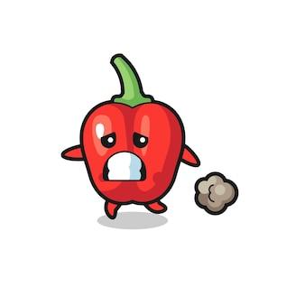 Ilustração do pimentão vermelho correndo com medo, design de estilo fofo para camiseta, adesivo, elemento de logotipo