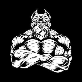 Ilustração do pitbull work out