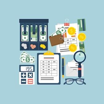 Ilustração do planejamento orçamentário, vista superior.