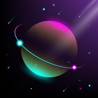 Ilustração do planeta e do universo. estilo moderno isométrico e cores de gradação