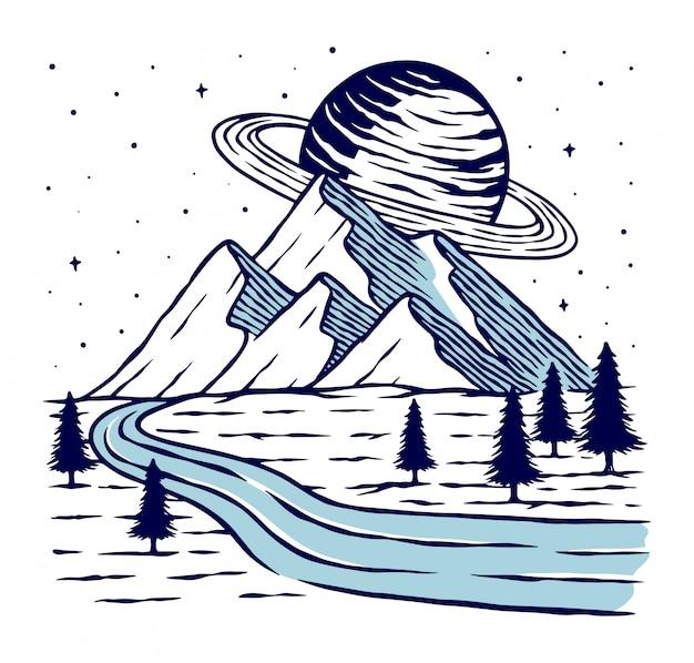 Ilustração do planeta e montanha