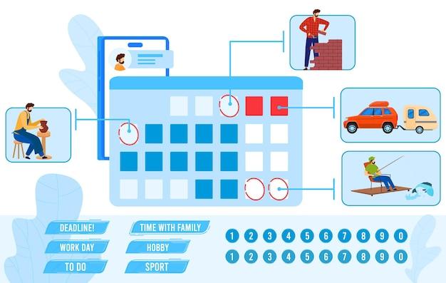 Ilustração do plano de calendário.