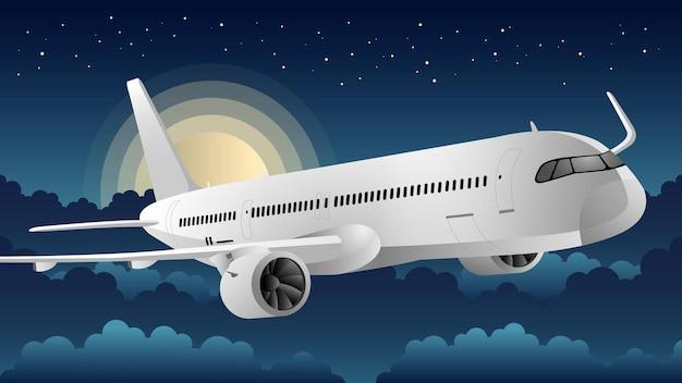 Ilustração do plano de fundo do avião à noite
