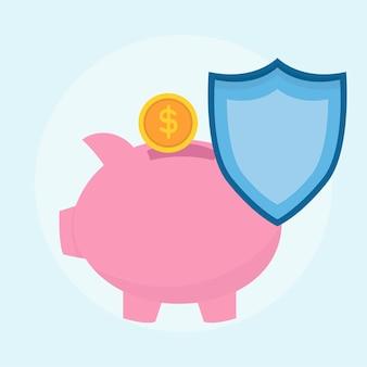 Ilustração do plano de proteção de poupança de dinheiro