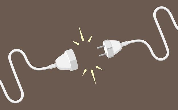 Ilustração do plugue de conexão e do cabo de extensão elétrica