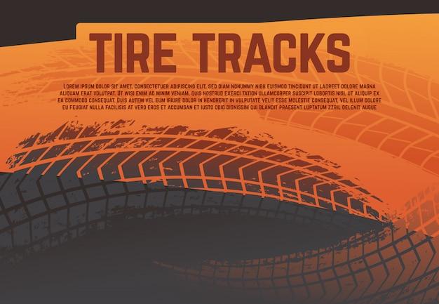 Ilustração do pneu rastreia faixas. marcas de estrada do pneu de corrida grunge. ilustração em vetor abstrato moto rali
