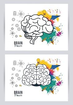 Ilustração do poder do cérebro com respingos de cores e aviões