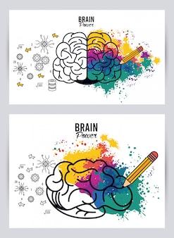 Ilustração do poder do cérebro com respingos de cores e lápis