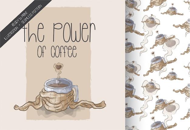 Ilustração do poder do padrão sem emenda de café