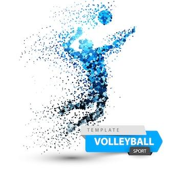 Ilustração do ponto do voleibol no fundo branco.
