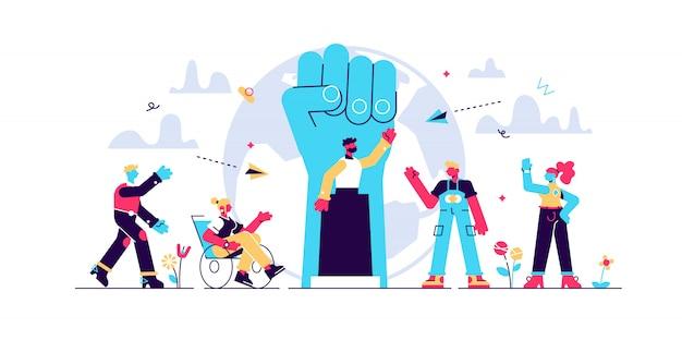 Ilustração do populismo. conceito de pessoas de manipulação líder minúsculo.