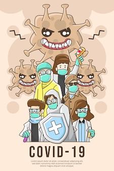 Ilustração do poster do filme coronavirus covid-19 com equipe médica contra o vírus