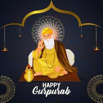 Ilustração do primeiro guru sikh, guru nanak dev ji