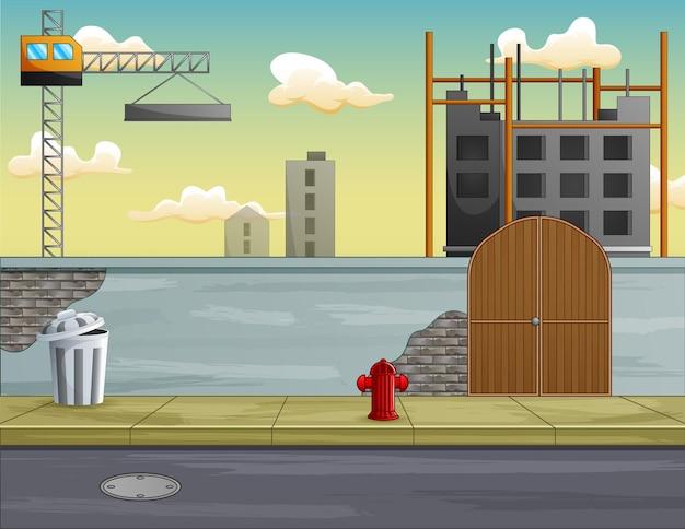 Ilustração do processo de construção de construção de uma casa
