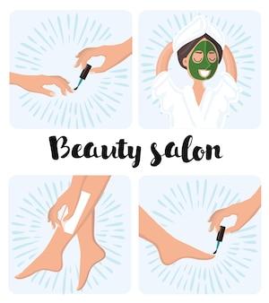 Ilustração do processo de manicure e pedicure