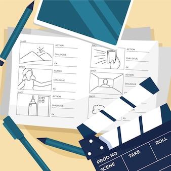 Ilustração do processo de storyboard