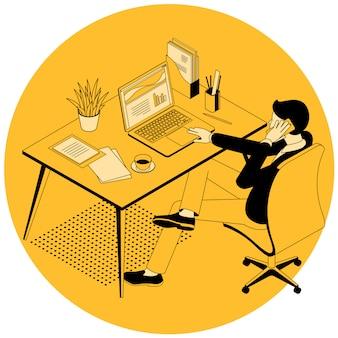 Ilustração do processo de trabalho do gerente.