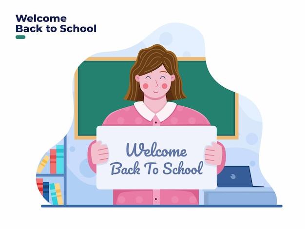 Ilustração do professor dá as boas-vindas aos alunos de volta à escola com alegria nas salas de aula