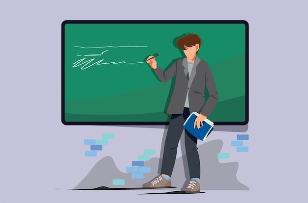 Ilustração do professor em pé e ensinando na classe com uma lousa