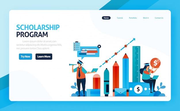 Ilustração do programa de educação de bolsas de estudo e aprendizado.