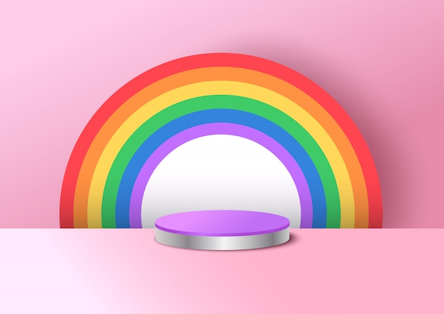 Ilustração do projeto arco-íris para o dia do orgulho e crianças fundo no estilo 3d