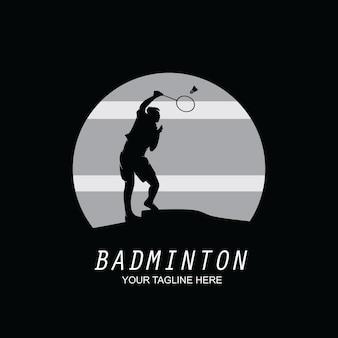 Ilustração do projeto da silhueta do logotipo do badminton