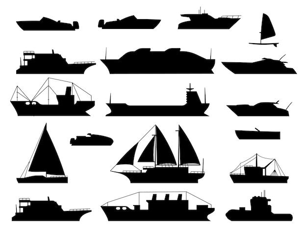 Ilustração do projeto da silhueta do navio marítimo Vetor Premium