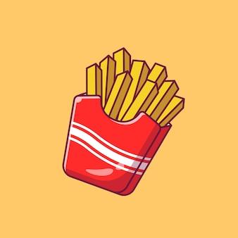 Ilustração do projeto de deliciosas batatas fritas em embalagem cartonada isolada.