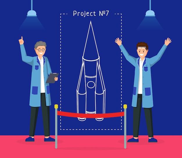 Ilustração do projeto de design de nave espacial