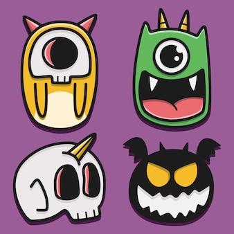 Ilustração do projeto do doodle do monstro dos desenhos animados kawaii
