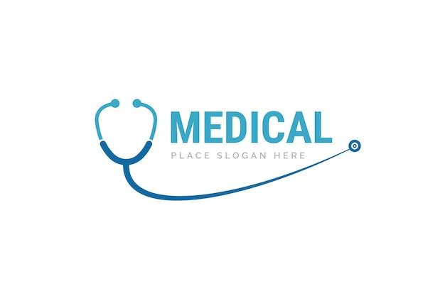 Ilustração do projeto do ícone do estetoscópio. modelo de logotipo de saúde e medicina.