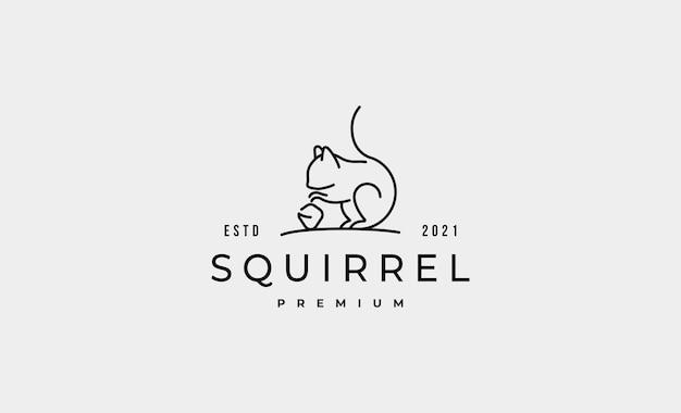Ilustração do projeto do logotipo do esquilo monoline