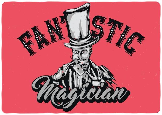 Ilustração do projeto do mágico de chapéu com cartão nas mãos
