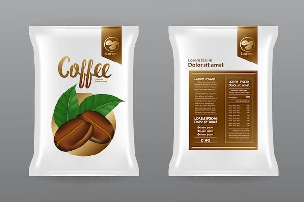 Ilustração do projeto do mock up do produto de café