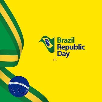Ilustração do projeto do molde do vetor do dia da república de brasil