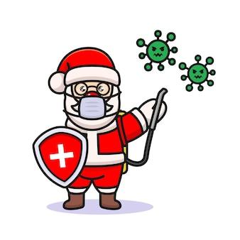 Ilustração do projeto do papai noel lutando contra o coronavírus