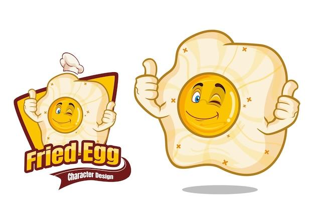 Ilustração do projeto do personagem de desenho animado com ovo frito