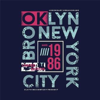 Ilustração do projeto do vetor da camiseta do brooklyn new york city tipografia gráfica de texto